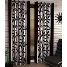 India Furnish Designer Brown Eyelet Polyester Curtain Long Door Length (Set of 3 Pcs) 108