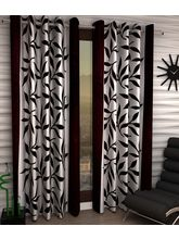 India Furnish Designer Brown Eyelet Polyester Curtain Window Length (Set of 2 Pcs) 60