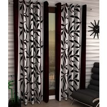 India Furnish Designer Brown Eyelet Polyester Curtain Long Door Length (Set of 4 Pcs) 108