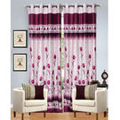 India Furnish Eyelet Polyester Curtain Door Length - Set Of 4 Pcs (IFCUR15032(4) ), wine