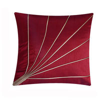 India Furnish Stripe Maroon Cushion Covers (Pack Of 5)