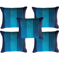 "India Furnish Dupion Silk Quilt Design 5 Pieces Cushion Covers Set - 16"" X 16"" , Blue"
