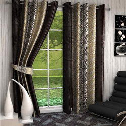 India Furnish Eyelet Polyester Curtain Door Length - Set Of 4 Pcs (IFCUR15028(4) ),  brown