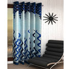 India Furnish Designer Blue Eyelet Polyester Curtain Long Door Length (Set of 1 Pcs) 108