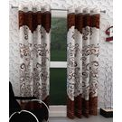 India Furnish Eyelet Polyester Curtain Long Door Length - Set Of 4 Pcs (IFCUR15007L(4) ),  brown