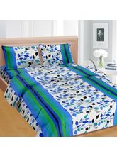 Cortina Cortina Double Bedsheet With Tow Pillow Cover-045-A (PDB-045-A), blue