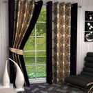 India Furnish Designer Brown Eyelet Polyester Curtain Window Length (Set of 4 Pcs) 60