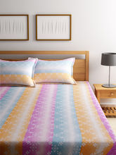 Bombay Dyeing 180 Tc Cotton Stripes Bedsheet With Two Pillow Cover