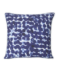 Monogram Blue Square Cotton Hand Print Cushion Cover Set - 5 Piece