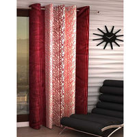 India Furnish Eyelet Polyester Curtain Long Door Length - Set Of 1 Pcs (IFCUR15021La),  maroon