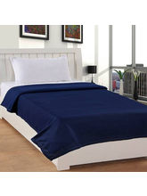 India Furnish Plain Polyester Fleece Blanket-Blue
