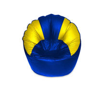 India Furnish Mudda Sofa Bean Bag Cover Blue And Yellow Color (Without Beans)