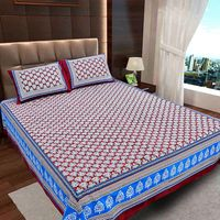 Ahmedabad Cotton Jaipuri Collection Cotton Double Bedsheet With 2 Pillow Covers (ACB20D00134)