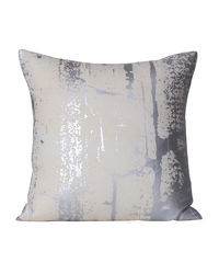 Monogram White Square Cotton Foil Print Cushion Cover Set - 5 Piece