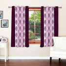 India Furnish Designer Wine Eyelet Polyester Curtain Door Length (Set of 3 Pcs) 84