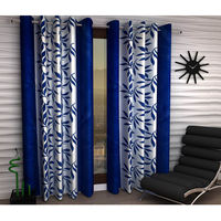 "India Furnish Designer Blue Eyelet Polyester Curtain Window Length (Set of 1 Pcs) 60"" x48"""