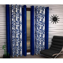 India Furnish Designer Blue Eyelet Polyester Curtain Window Length (Set of 6 Pcs) 60