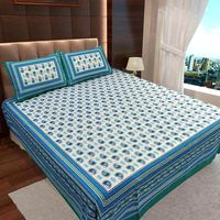 Ahmedabad Cotton Jaipuri Collection Cotton Double Bedsheet With 2 Pillow Covers (ACB20D00109)