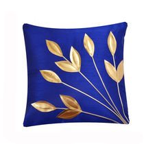 India Furnish Golden Leaf Blue Cushion Covers (Pack Of 5)