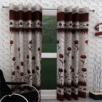 India Furnish Designer Brown Eyelet Polyester Curtain Long Door Length (Set of 8 Pcs) 108