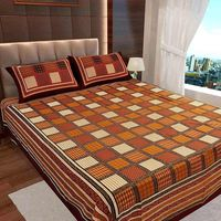 Ahmedabad Cotton Jaipuri Collection Cotton Double Bedsheet With 2 Pillow Covers (ACB20D00118)