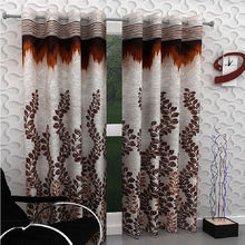 "India Furnish Designer Brown Eyelet Polyester Curtain Door Length (Set of 6 Pcs) 84"" x48"""