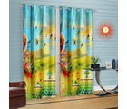 Cortina Rising Sun And Birds Theme-Set Of 2 (DG-P-7FT-SO2), light blue
