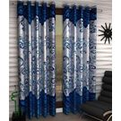 India Furnish Eyelet Polyester Curtain Door Length - Set Of 4 Pcs (IFCUR15012(4) ), turquoise