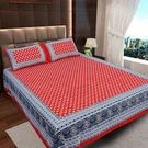 Ahmedabad Cotton Jaipuri Collection Cotton Double Bedsheet With 2 Pillow Covers (ACB20D00124)