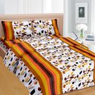 Cortina Cortina Double Bedsheet With Tow Pillow Cover-045-B (PDB-045-B),  orange