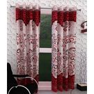 India Furnish Eyelet Polyester Curtain Door Length - Set Of 4 Pcs (IFCUR15020L(4) ),  red