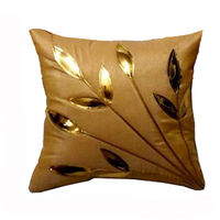 India Furnish Golden Leaf Beige Cushion Covers (Pack Of 5)