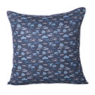 Monogram Blue Square Polyester With Digital Print Cushion Cover Set - 5 Piece