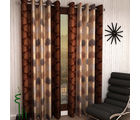 India Furnish Eyelet Polyester Curtain Window Length - Set Of 3 Pcs (IFCUR15044W(3) ), brown