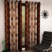 India Furnish Eyelet Polyester Curtain Long Door Length - Set Of 3 Pcs (IFCUR15044L(3) ),  brown