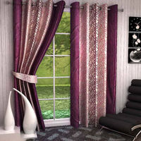 India Furnish Eyelet Polyester Curtain Long Door Length - Set Of 8 Pcs (IFCUR15010L(8) ), wine