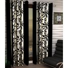 India Furnish Designer Black Eyelet Polyester Curtain Long Door Length (Set of 4 Pcs) 108