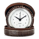 Shaze Leather Alarm Clock,  brown