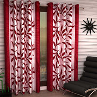India Furnish Eyelet Polyester Curtain Long Door Length - Set Of 8 Pcs (IFCUR15016L(8) ),  maroon