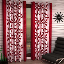 India Furnish Eyelet Polyester Curtain Door Length - Set Of 3 Pcs (IFCUR15016(3) ),  maroon