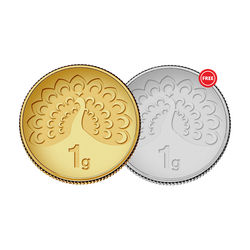 Amrapali Mayura Gold Coin With Free Silver Coin, 1 gm