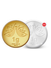 Amrapali Mayura Gold Coin with FREE SILVER COIN , 1 gm
