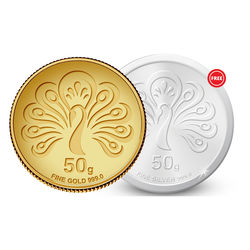 Amrapali Mayura Gold Coin With Free Silver Coin, 50 gm