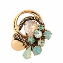 Shaze Brass Gold-Colored Green Sea Ring