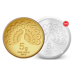 Amrapali Mayura Gold Coin With Free Silver Coin, 5 gm