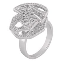 Shaze Silver-Colored Studded Betel Leaf Ring
