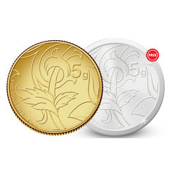 Amrapali Blossom Gold Coin With Free Silver Coin, 5 gm