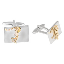 Shaze Silver-Plated Imperial Gold Cufflink