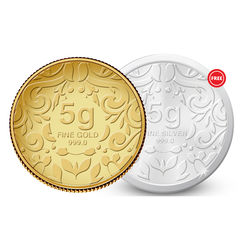 Amrapali Floret Gold Coin With Free Silver Coin, 5 gm
