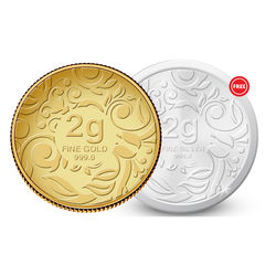 Amrapali Floret Gold Coin With Free Silver Coin, 2 gm